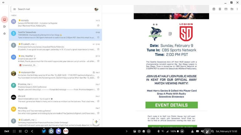 Gmail in optimized mode with DeX