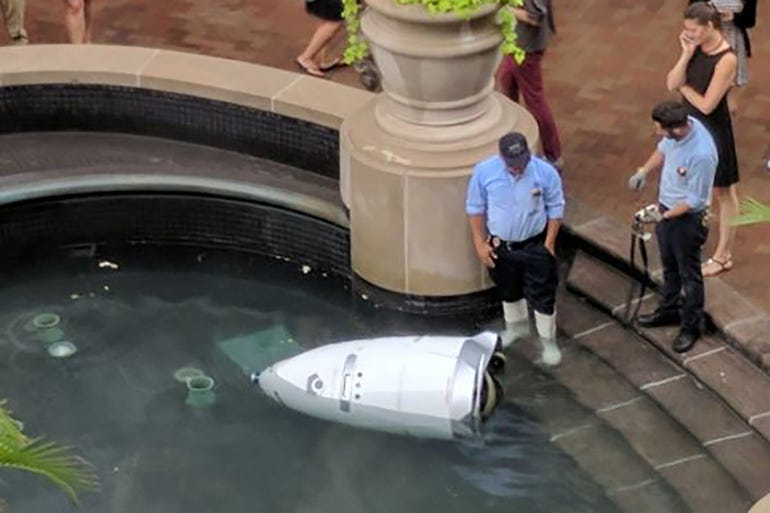Security robot drowns in fountain