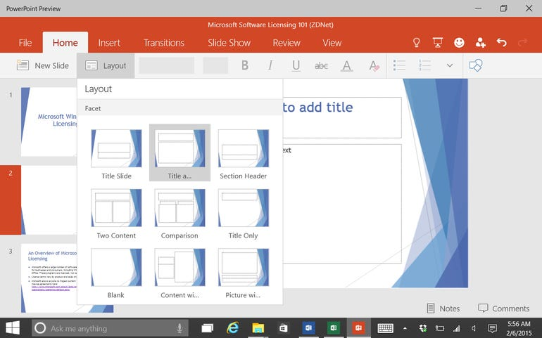 Add a new slide and choose a layout