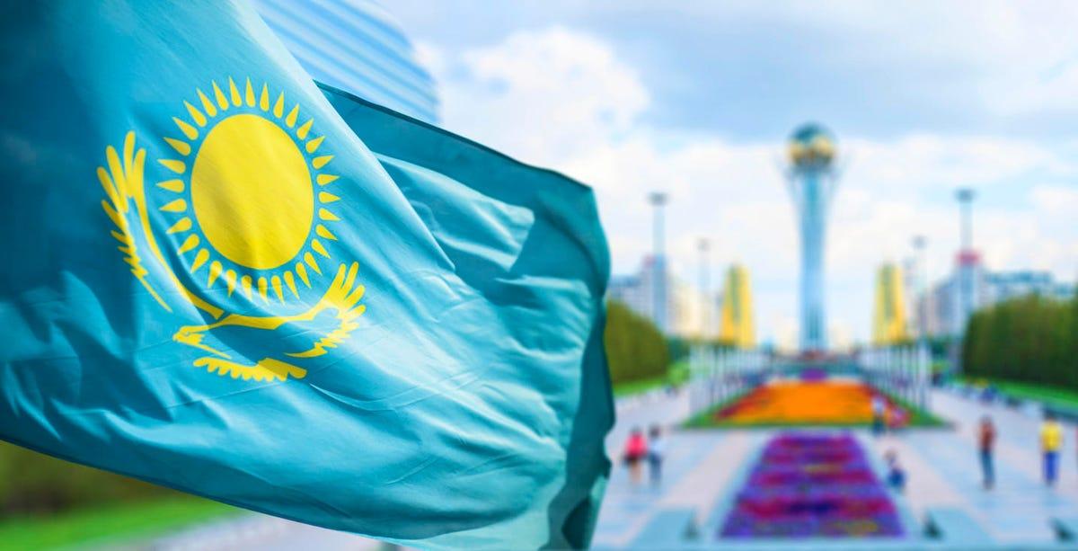 Flag of Kazakhstan in Astana
