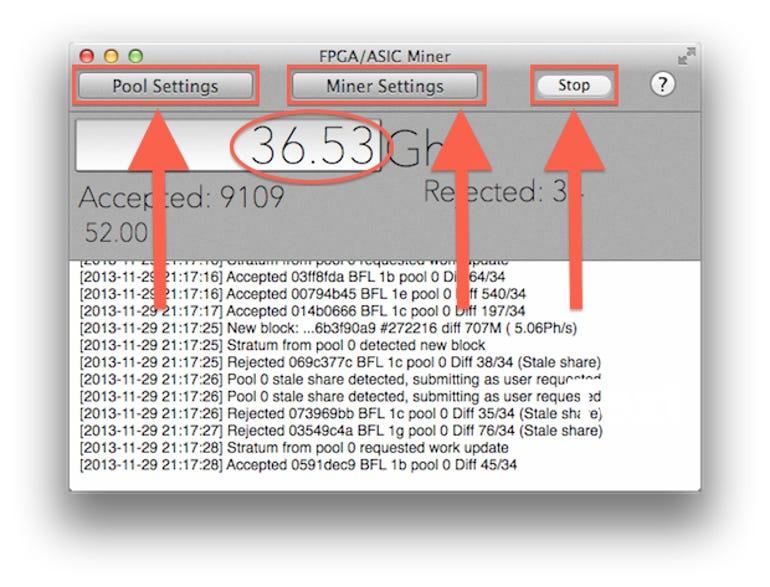 La fenêtre FPGA / ASIC Miner dans MacMiner.  Actuellement à bascule 36Gh / s!  Jason O'Grady
