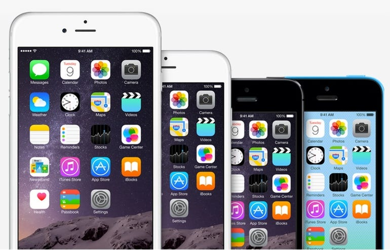 iPhone 6 Plus, iPhone 6, iPhone 5s, and iPhone 5c