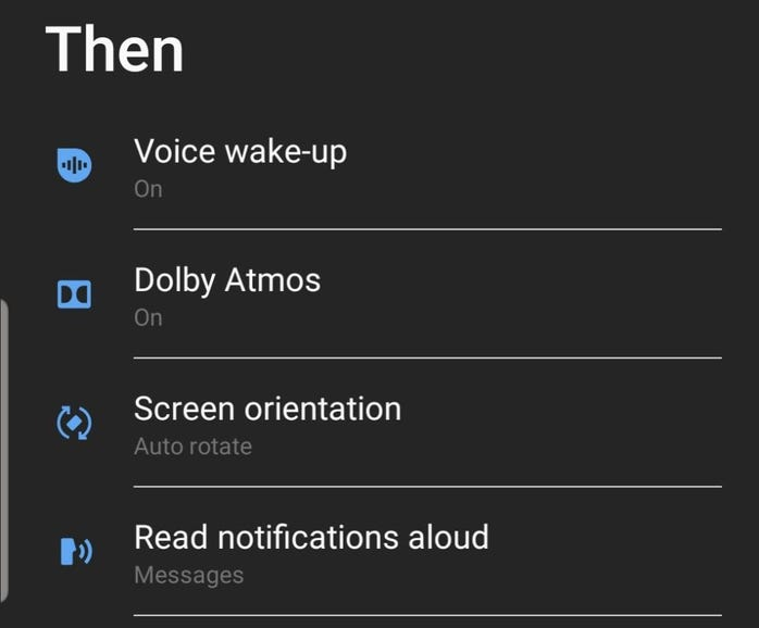 Then statements for a Bixby Routine