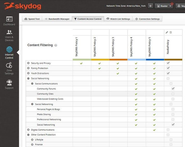 Skydog content filtering policies