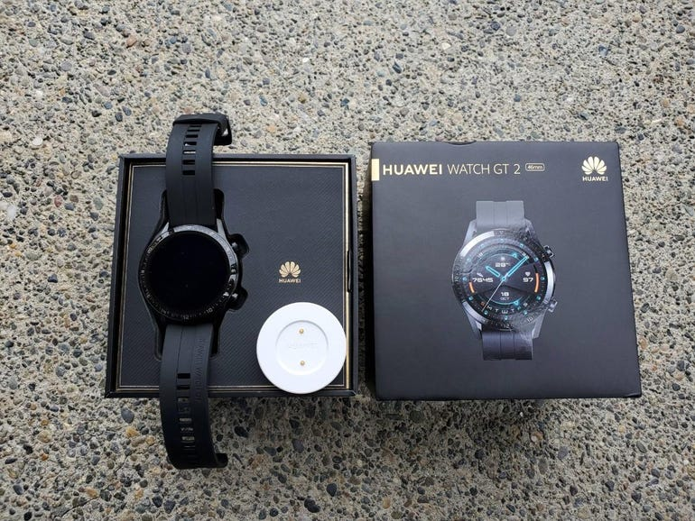 Huawei Watch GT 2 retail box and charging puck