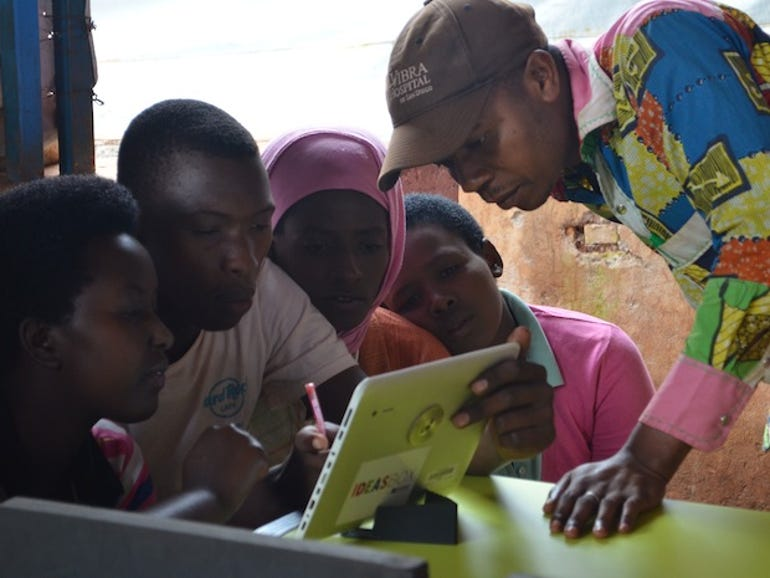 The Ideas Box in action in Burundi.