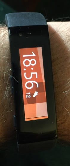 First screen seen on the Microsoft Band