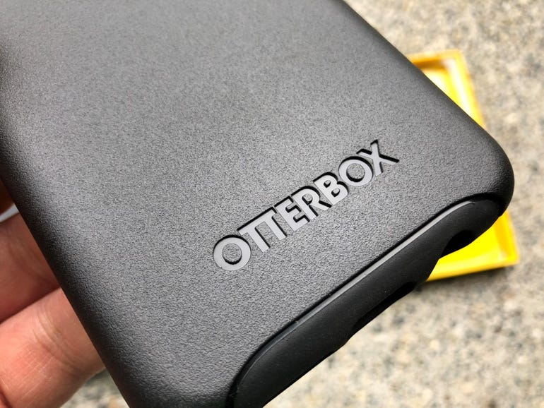 OtterBox branding on the back of the Symmetry case