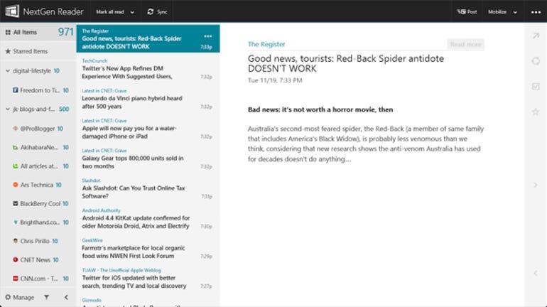 NextGen Reader full screen
