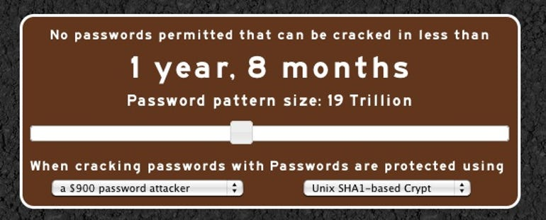 Passfault's slider tool sets policy based on password strength