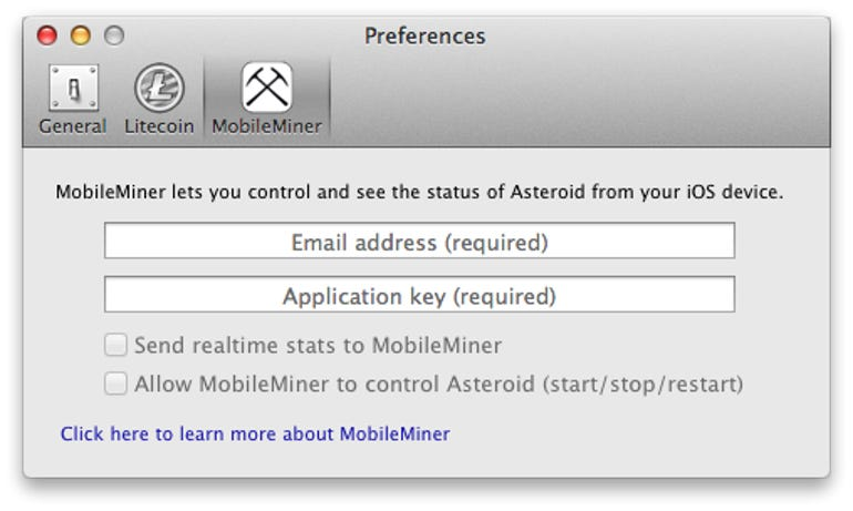 Asteroid - Preferences (MobileMiner)