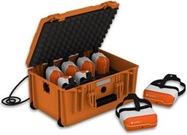 An 8-pack of ClassVR headsets with case