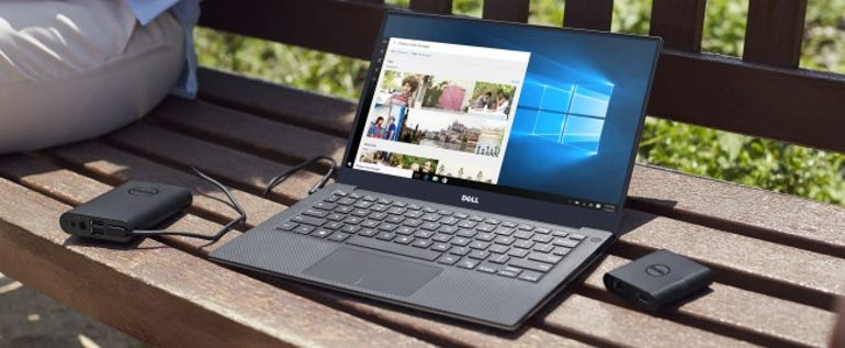 Dell XPS 13 on a park bench