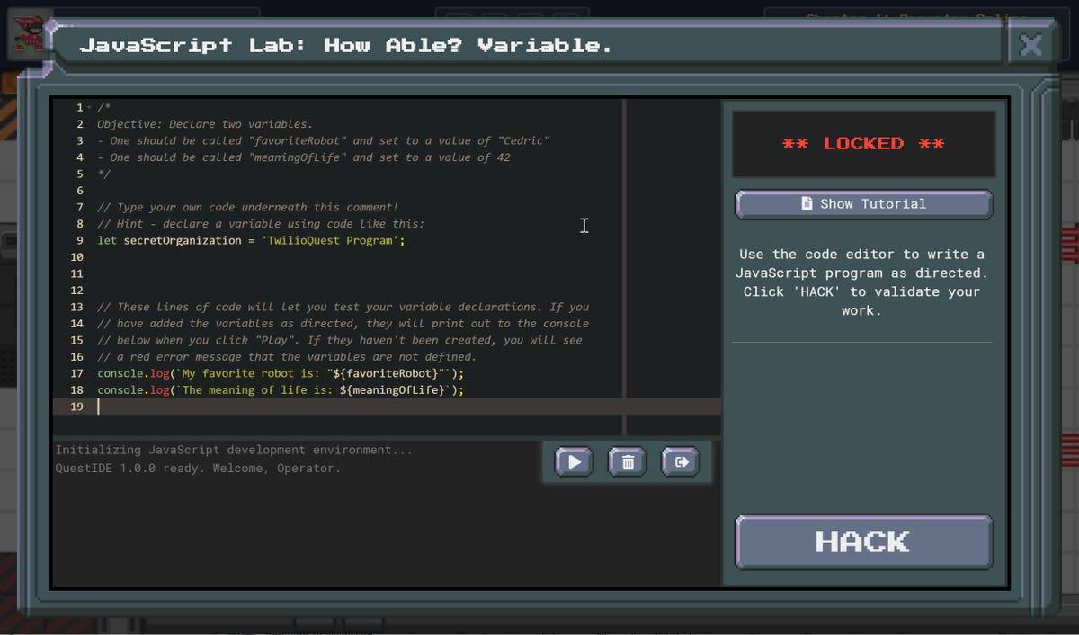 TwilioQuest's built in development tools