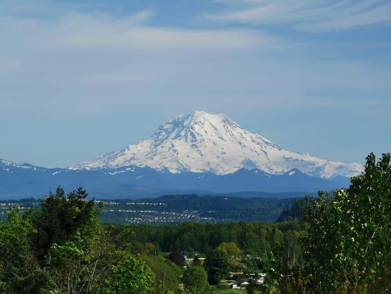Zooming in on Mt Rainier