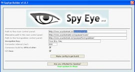 Main screen for Spy Eye point-and-click malware generator