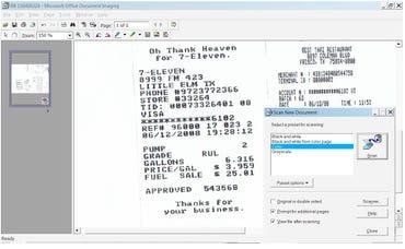 Vinnie's scanned receipt