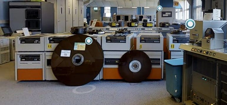 A view of 1960s mainframes and disk drives at TNMOC