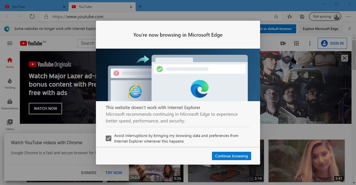 IE to Edge redirect screen