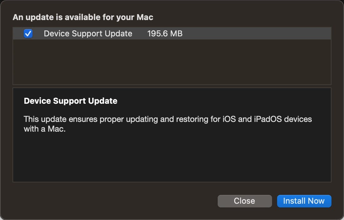 Device Support Update for macOS Big Sur