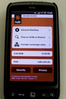 NAB's mobile banking app for Android