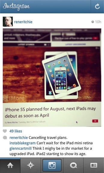 Instagram works well on the BlackBerry Z10
