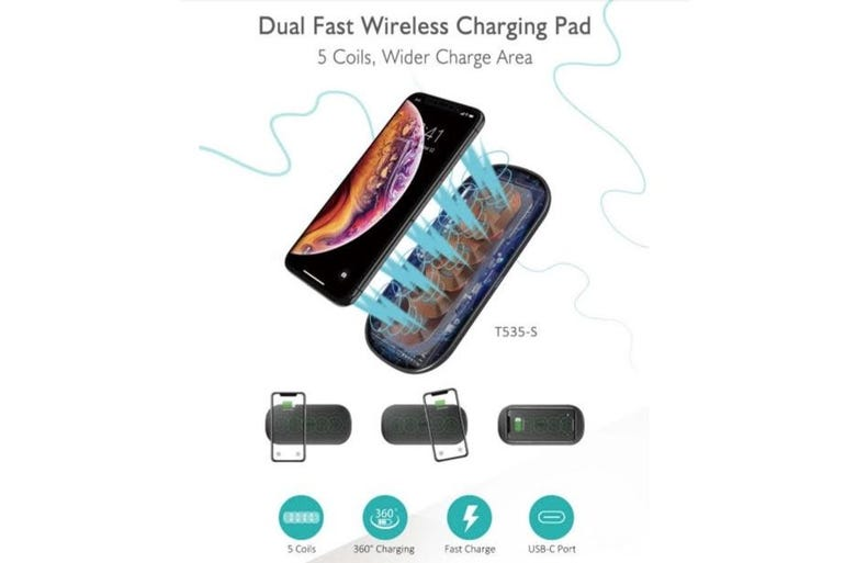Choetech 5 Coils Dual Fast Wireless Charging Pad