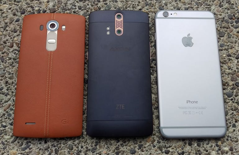 Back of the LG G4, ZTE Axon Pro, iPhone 6 Plus