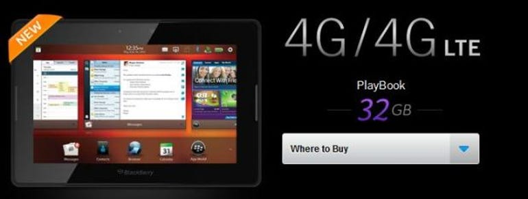 RIM officially announces 32GB 4G LTE BlackBerry PlayBook