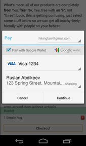 Chrome payment interface