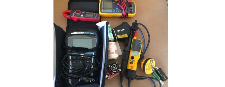 Some of the safety equipment I use to test electrical devices