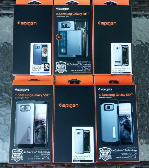 Six Spigen cases for the Samsung Galaxy S8 Plus