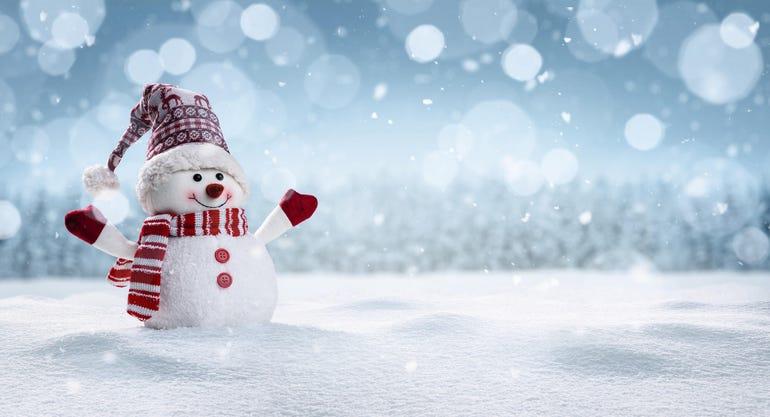 Happy snowman in winter secenery
